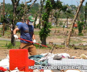 Health and Physical Education candidate David Hill cleaning up